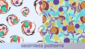 Abstract colour seamless pattern set vector illustration
