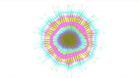 Abstract Coloured Pattern. A computer generated animation with a flickering circular pattern and radiating lines stock footage