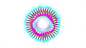 Abstract Coloured Pattern With White background. A computer generated animation with a flickering circular pattern and radiating lines stock video