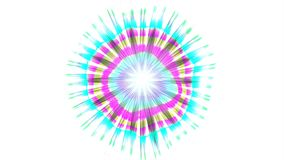Abstract Coloured Pattern With White background. A computer generated animation with a flickering circular pattern and radiating lines stock video footage