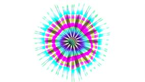 Abstract Coloured Pattern With White background. A computer generated animation with a flickering circular pattern and radiating lines stock footage