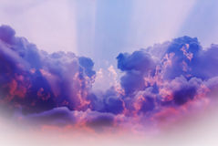 Abstract colourful blue purple pink dreamy sky with romantic sof Stock Images