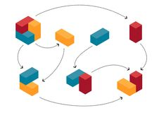 Abstract colourful cubes in evolving progress royalty free illustration