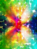 Abstract colourful design. With colored dots and rays of light Stock Image