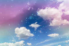 Abstract colourful dreamy like heaven sky with flowers field in Royalty Free Stock Photos