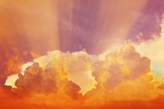 Abstract colourful dreamy sky with romantic soft mood Stock Photos