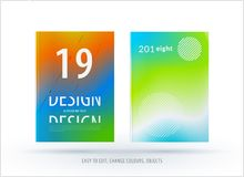 Abstract colourful graphic design of brochure in fluid liquid style with blurred smooth background. Set stock illustration