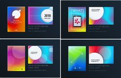 Abstract colourful graphic design of brochure in fluid liquid style with blurred smooth background. Set vector illustration