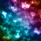 Abstract colourful hearts background Stock Images