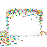 Abstract Colourful Horizontal Vector Confetti Panel. With Free Text Space - Greeting card Vector Template stock illustration