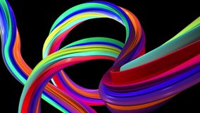 Abstract colourful line. Black background. Abstract colourful line rotation. Black background royalty free illustration