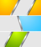 Abstract colourful metallic vector banners Royalty Free Stock Photo