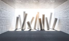 Abstract columns 3d. Abstract columns and concrete room 3d rendering image Royalty Free Stock Photos