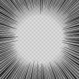 Abstract comic book flash explosion radial lines background. Vector illustration for superhero design. Bright black white light st Royalty Free Stock Photography