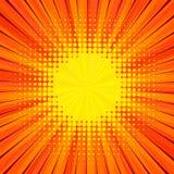 Abstract comic orange background for style pop art design. Retro burst template backdrop. Light rays effect. Vintage comic book style, halftone modern print Stock Photo