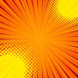 Abstract comic orange background for style pop art design. Retro burst template backdrop. Light rays effect. Vintage comic book style, halftone modern print Royalty Free Stock Photography