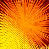 Abstract comic orange background for style pop art design. Retro burst template backdrop. Light rays effect. Vintage comic book style, halftone modern print Stock Images