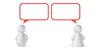 Abstract communication concept. Abstract male and female figures with speech bubbles isolated on white background Royalty Free Stock Photos