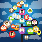 Abstract community tree. With avatars of members Royalty Free Stock Photo