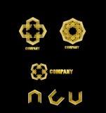 Abstract company gold logo icon Stock Image