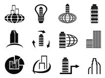 Abstract company icons set. Isolated abstract black company icons set from white background Stock Photography