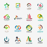 Abstract company logo vector collection. 16 line style business corporate logotypes Stock Image
