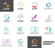 Abstract company logo vector collection. 16 line style business corporate logotypes Royalty Free Stock Images