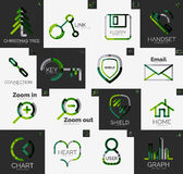 Abstract company logo vector collection. Abstract company logo collection - 16 line style business corporate logotypes, web universal icon set Royalty Free Stock Image