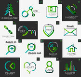 Abstract company logo vector collection. Abstract company logo collection - 16 line style business corporate logotypes, web universal icon set Stock Image