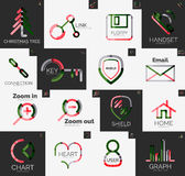 Abstract company logo vector collection. Abstract company logo collection - 16 line style business corporate logotypes, web universal icon set Stock Photo