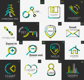 Abstract company logo vector collection. Abstract company logo collection - 16 line style business corporate logotypes, web universal icon set Royalty Free Stock Photography