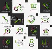 Abstract company logo vector collection. Abstract company logo collection - 16 line style business corporate logotypes, web universal icon set Stock Photos