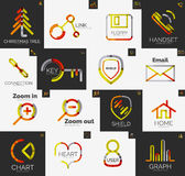 Abstract company logo vector collection. Abstract company logo collection - 16 line style business corporate logotypes, web universal icon set Stock Photography