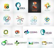Abstract company logo vector collection. 16 modern various business corporate logotypes Royalty Free Stock Image