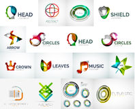 Abstract company logo vector collection. 16 modern various business corporate logotypes Royalty Free Stock Images
