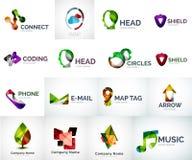 Abstract company logo vector collection. 16 modern various business corporate logotypes Stock Photos