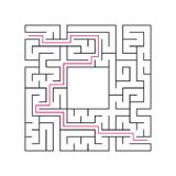 Abstract complex labyrinth. Black stroke on a white background. An interesting puzzle game for children. Vector illustration. With. The right way Stock Images