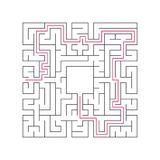Abstract complex labyrinth. Black stroke on a white background. An interesting puzzle game for children. Vector illustration. With. The right way Royalty Free Stock Photos