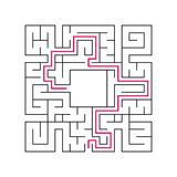 Abstract complex labyrinth. Black stroke on a white background. An interesting puzzle game for children. Vector illustration. With. The right way Royalty Free Stock Photography