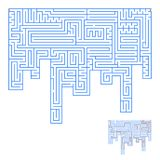 Abstract complex labyrinth. An interesting game for children and adults. Simple flat vector illustration isolated on white backgro. Und. With the answer stock illustration