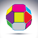 Abstract complicated 3d ball with jewels effect. Bright sphere c Stock Photos