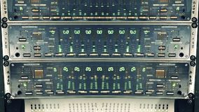 Abstract composite of digital mixer inside audio studio. Abstract composite studio equipment machine with multiple led inside sound designer mixing studio stage stock illustration