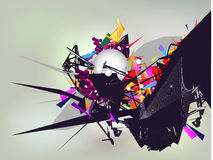 Abstract composition. With 3d elements royalty free illustration