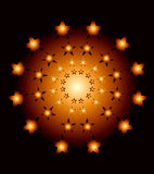 Abstract composition. Star carved on a plahe illuminated with bright balls on a black bacground Royalty Free Stock Photo