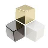Abstract composition of black golden and white cubes. With nice reflecions isolated on white Stock Images
