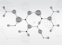 Abstract composition of black lines and globes. On white background Stock Images