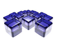Abstract composition of blue glass cubes Royalty Free Stock Photos