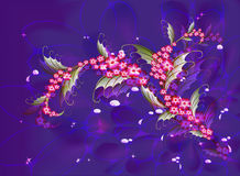 Abstract composition with branch of Sakura flowers on a dark blue background with stars, sparkles and drops of dew. EPS10 vector illustration Royalty Free Stock Image