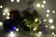 Abstract composition of christmas lights and balls stock photos