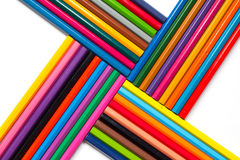 Abstract composition of color pencil on white background Royalty Free Stock Photos